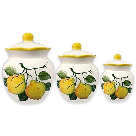Lorren Home Trends Lemon Design 3 Piece Deluxe Canister