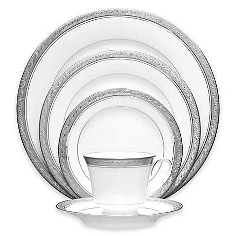 noritake crestwood platinum dinnerware collection bed bath beyond
