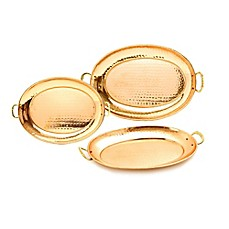 image of Old Dutch International 3-Piece Hammered Oval Copper-Plated Tray Set