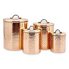 image of Old Dutch International Décor Hammered Copper 4-Piece Canister Set