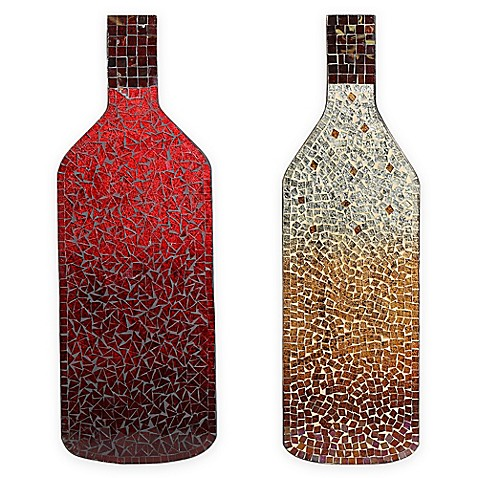 Mosaic red wine bottle wall art bed bath beyond for Wall decor wine bottles