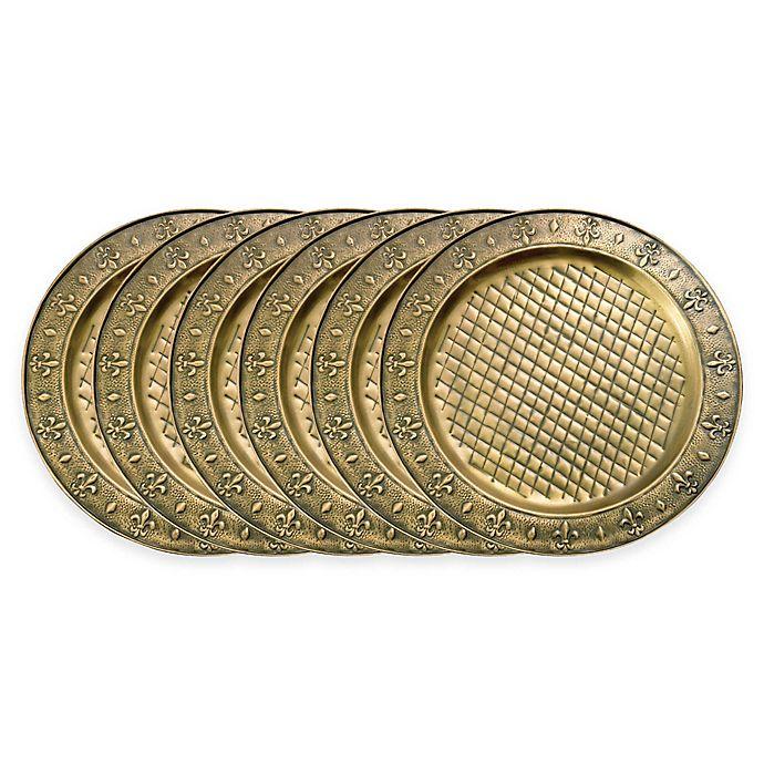 Old Dutch International Antique Brass Plated Fleur De Lis Charger Plates Set Of 6 Bed Bath Beyond