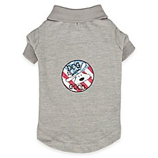 image of dog is good patriotic polo shirt in grey