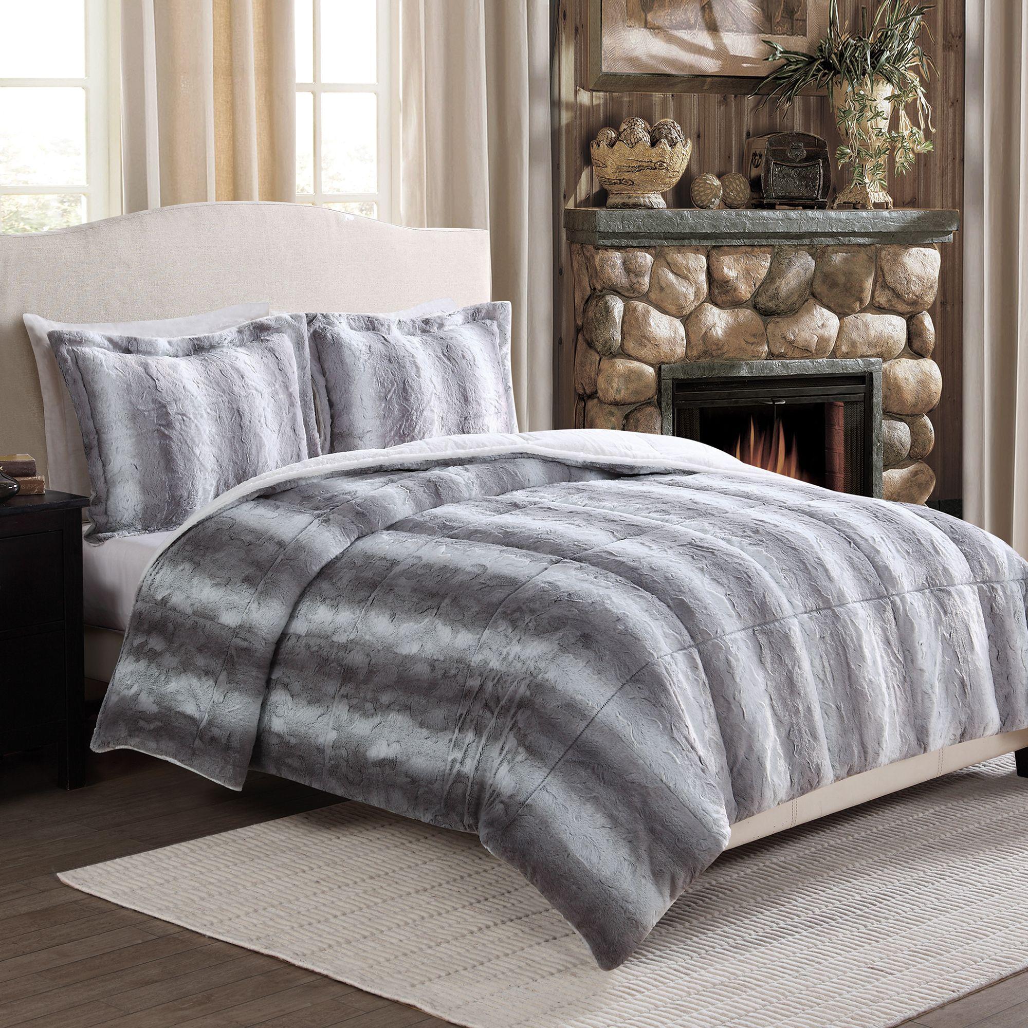 Chinchilla Fashion Fur Reversible Full/Queen Comforter Set in Grey