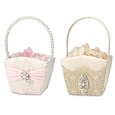 image of Lillian Rose™ Lace and Satin Flower Basket