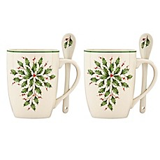 image of Lenox® Holiday™ Cocoa Mugs with Spoons (Set of 2)