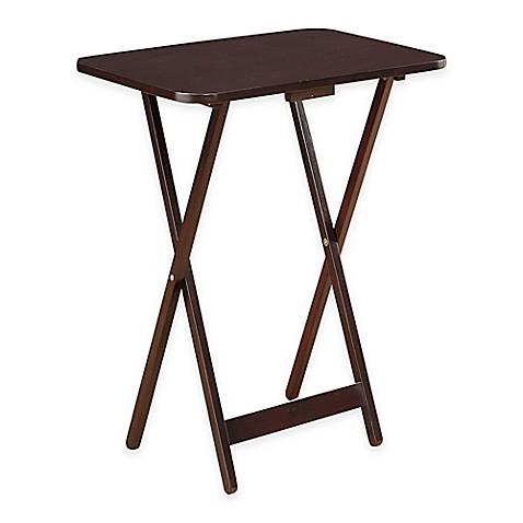 Superior Folding Oversized Wood Tray Table In Espresso