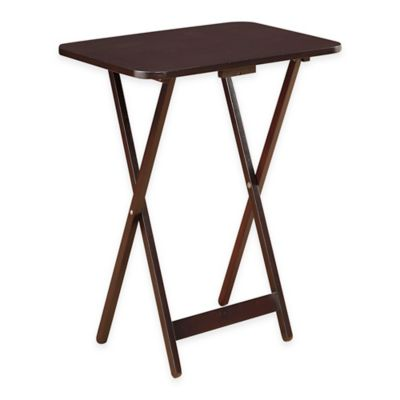 Beau Folding Oversized Wood Tray Table In Espresso