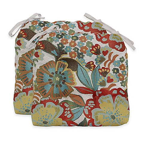 Molly Flowers Waterfall Chair Pads In Sunshine Set Of 2