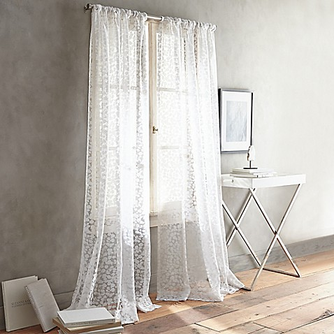Dkny Halo Rod Pocket Sheer Window Curtain Panel In White