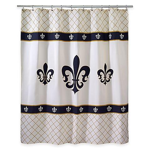 Avanti luxemborg fleur de lis shower curtain bed bath beyond - Fleur de lis shower curtain hooks ...