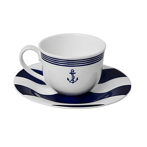 P by Prouna Marine Blue Teacup and Saucer in Blue