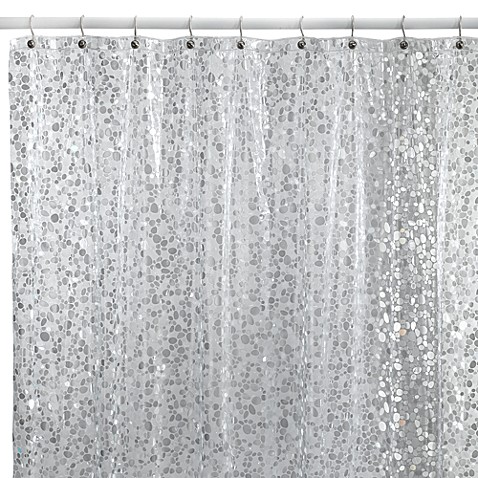 white and silver shower curtain. Pebbles Shower Curtain in Clear  Bed Bath Beyond