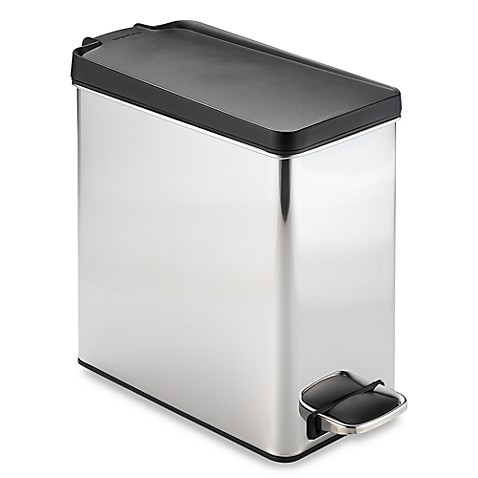 simplehuman® brushed stainless steel 10-liter profile step trash