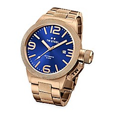 image of TW Steel Unisex 45mm Canteen Hammered Mid-Piece Watch in Gold-Plated Stainless Steel with Blue Dial