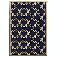image of Linon Home Innovations Reversible Indoor/Outdoor Rug in Navy