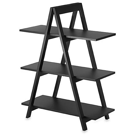 Image Of Black Three Shelf A Frame Bookcase