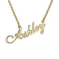 image of Alison & Ivy® 10K Gold 18-Inch Chain Slanted Script Nameplate Necklace