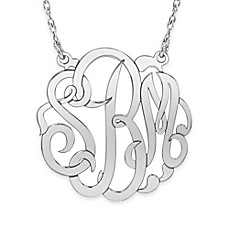 image of Alison & Ivy® Sterling Silver 18-Inch Chain 30mm Script Letter Pendant Necklace