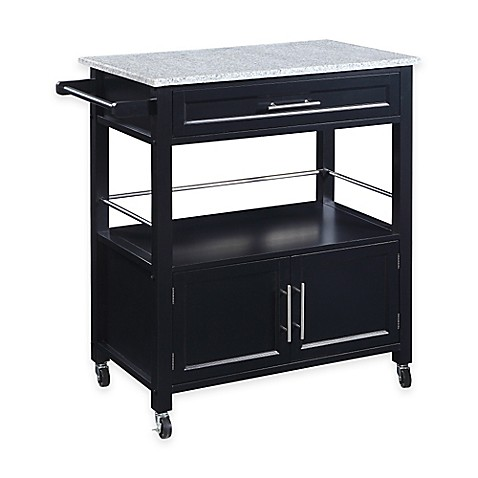 Cameron Kitchen Cart with Granite Top in Black
