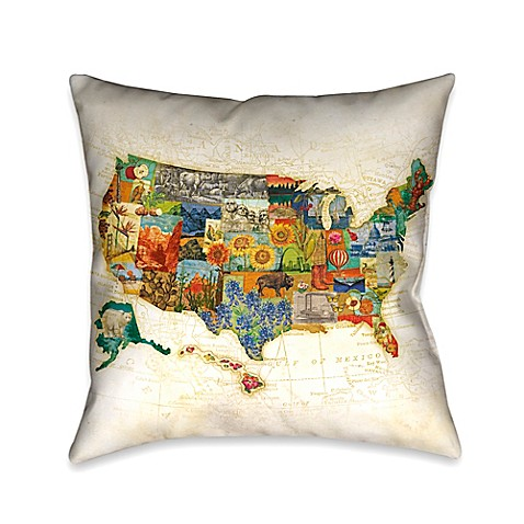 Laural Home Vintage Travel Map Square Throw Pillow - Bed Bath & Beyond