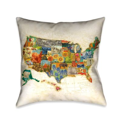 Decorative Pillows Travel Theme : Laural Home Vintage Travel Map Square Throw Pillow - Bed Bath & Beyond