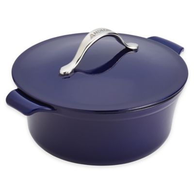 image of Anolon® Vesta™ 5 qt. Round Cast Iron Covered Casserole in Cobalt Blue