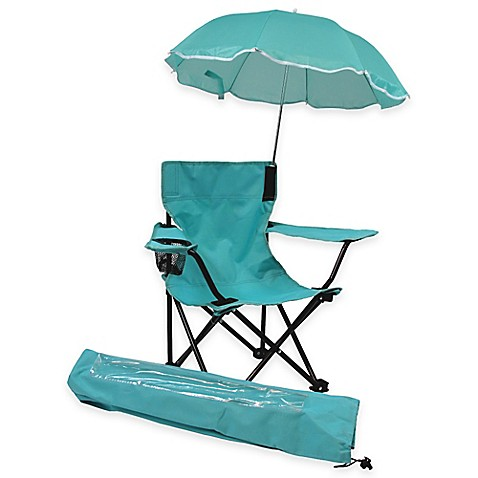 Redmon Kids Camp Chair with Umbrella in Aqua Bed Bath