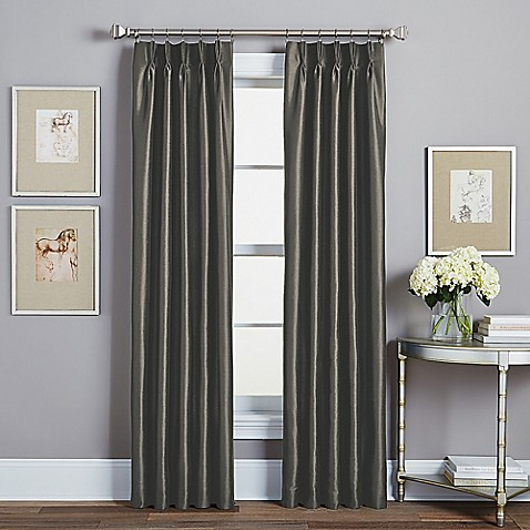 Buy Spellbound Pinch Pleat 95 Inch Rod Pocket Lined Window Curtain Panel In Pewter From Bed Bath