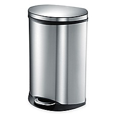EKO Shell Stainless Steel Semi Round 50 Liter Soft Close Step Trash Can