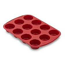 image of Wilton® Ultra-Flex™ Nonstick 12-Cup Silicone Muffin Pan in Red