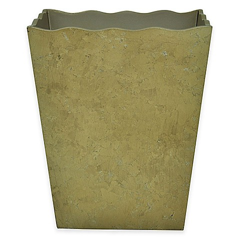 Buy jessica simpson hayden wastebasket in gold from bed for Gold bathroom wastebasket