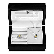 image of Sterling Silver Citrine and Created White Sapphire Halo Pendant, Ring and Jewelry Box Set