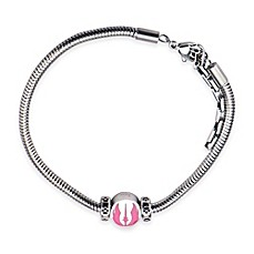 image of Star Wars™ Stainless Steel and Pink Enamel Jedi Symbol Bead 7-Inch Charm Bracelet