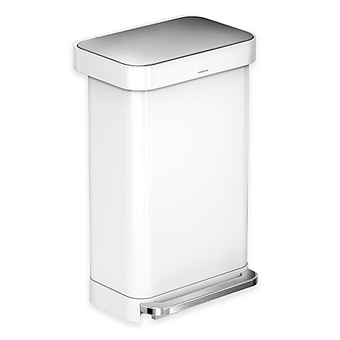 buy simplehuman 45 liter rectangular liner rim step can with liner pocket in white from bed. Black Bedroom Furniture Sets. Home Design Ideas