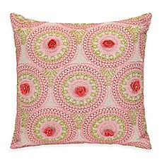 image of Jessica Simpson Amrita Medallion Crochet Flowers Square Throw Pillow in Coral