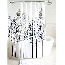 image of Forest PEVA Shower Curtain in Grey