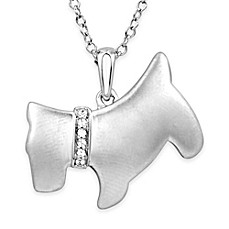image of ASPCA® Tender Voices Sterling Silver .03 cttw Diamond 18-Inch Chain Scottie Pendant Necklace