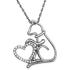image of ASPCA® Tender Voices Sterling Silver .09 cttw Diamond 18-Inch Chain Cat and Heart Pendant