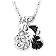 image of ASPCA® Tender Voices Sterling Silver .13 cttw Black/White Diamond Puppy Love Pendant Necklace