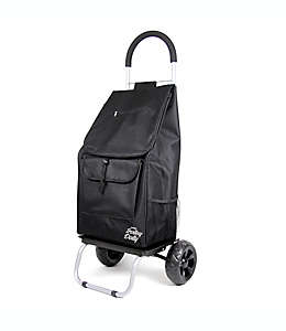 Carro de compras plegable con ruedas en negro