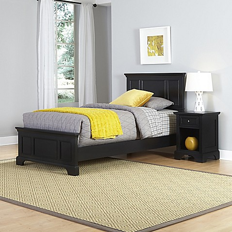 Buy Home Styles Bedford 2 Piece Twin Bed And Nightstand Set In Black From Bed Bath Beyond