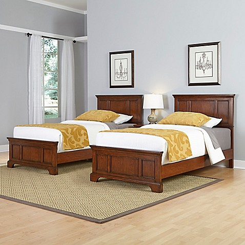 buy home styles chesapeake 3 piece twin beds and nightstand set in cherry from bed bath beyond. Black Bedroom Furniture Sets. Home Design Ideas