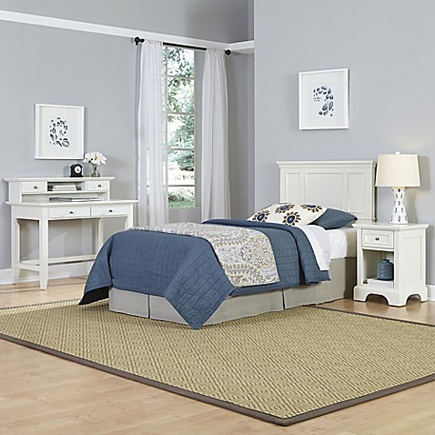 Home Styles Naples 3 Piece Twin Headboard Nightstand And Student Desk With Hutch Set In White