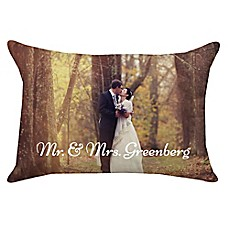 image of 14-Inch x 20-Inch Rectangle Dual Sided Photo Faux Linen Throw Pillow
