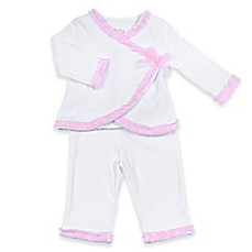 image of Sterling Baby 2-Piece Ruffle Trim Kimono and Pant Set in White/Pink