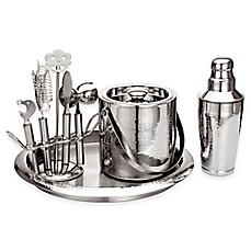 image of Godinger Hammered Stainless Steel Bar Set