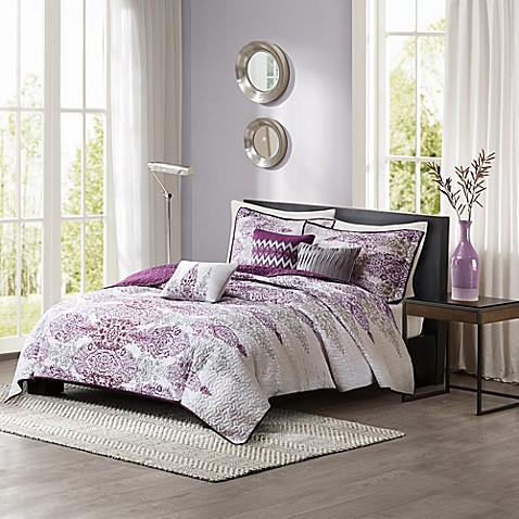 buy madison park sonali 6 piece quilted king california king coverlet set in purple from bed. Black Bedroom Furniture Sets. Home Design Ideas