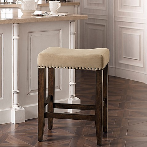 Grayson Stool With Nail Head Detailing In Coffee Walnut