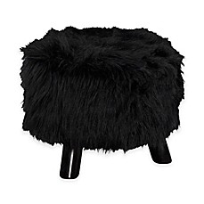 image of Faux Flokati 16-Inch Round Foot Stool